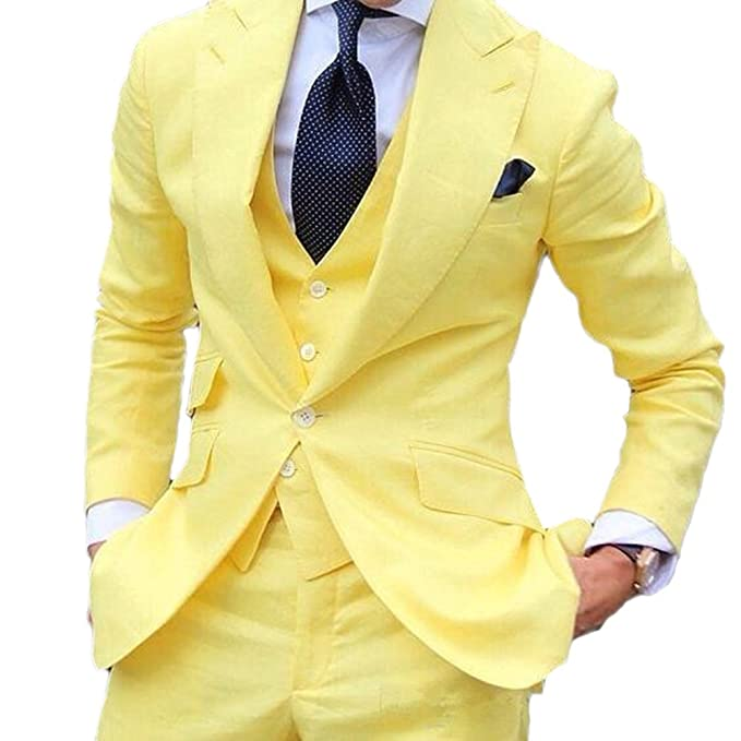 Vintage 3 Piece Yellow Mens Suits Wedding Suits Slim Fit ...