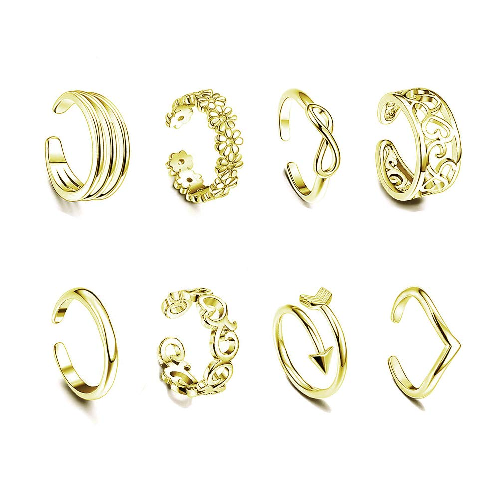 SOUHONEY 8PCS Toe Rings Adjustable Silver Toe Ring Open Tail Ring Flower Knot Arrow Leaf Simple Sandals Foot Jewelry Set for Women Girls Teens