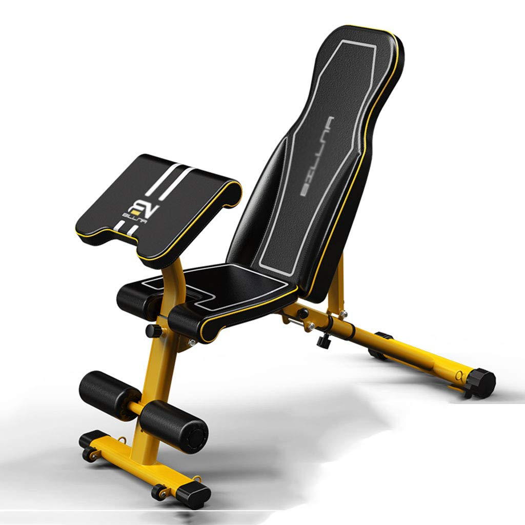 Standard Weight Benches Dumbbell Bench Home Multi-Function Supine Board Fitness Chair Fitness Equipment Supine Board Bench Press Bench (Color : Yellow, Size : 12540119cm)