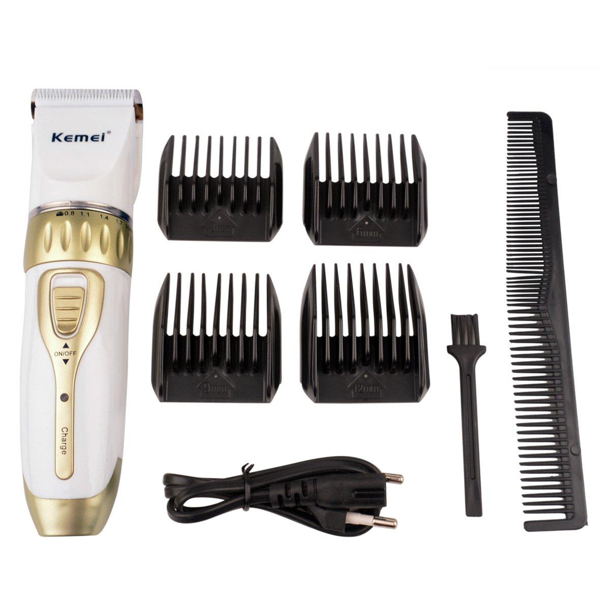 CkeyiN Hommes Rechargeables Kit Tondeuse à cheveux barbe électrique réglable Réglage fin bouton (0.8-2.0mm), 4 peignes limités (3mm / 6mm / 9mm / 12mm)