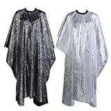 Max Corner Barber Cape Gown, Hairdresser Salon Hair Cutting Apron For Women Men Stylish Adult Kid Cover Cloth (Silver)