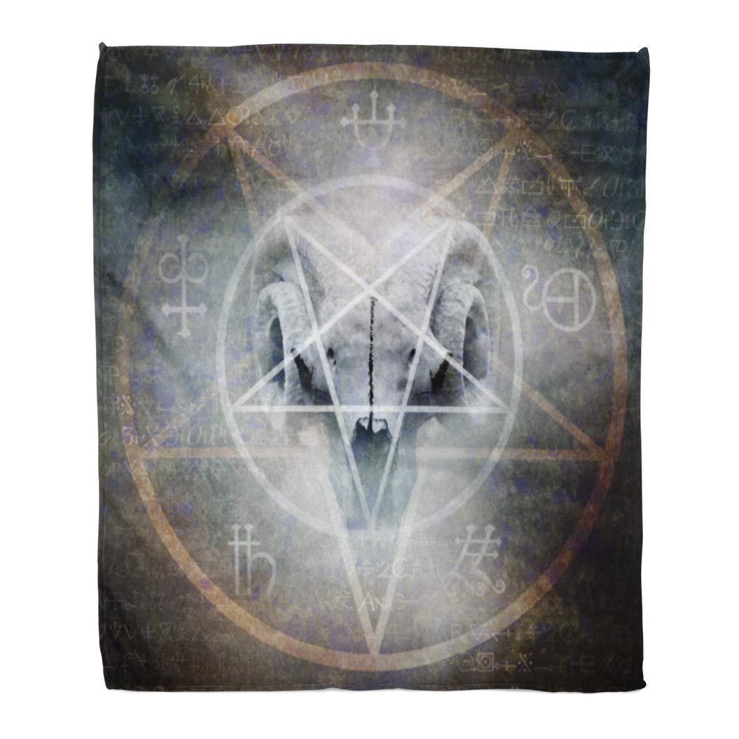 "Emvency 60"" x 80"" Super Soft Throw Blanket Satan Black Mass Montage of Occult Goat Skull Overlaid with Satanic Pentagram Demon Home Decorative Flannel Velvet Plush Blanket"