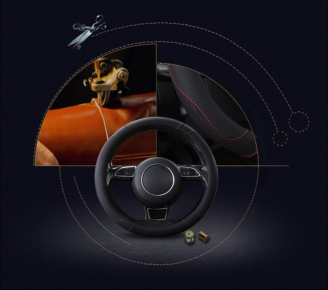 SFONIA Car Steering Wheel Cover Steering Wheel Protector Microfiber Leather Universal 37-38cm 15 Anti-slip Breathable Durable Black colour