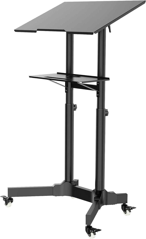 1home Support d/'Ordinateur Compact Mobile Poste de Travail Hauteur R/églable Chariot de pr/ésentation