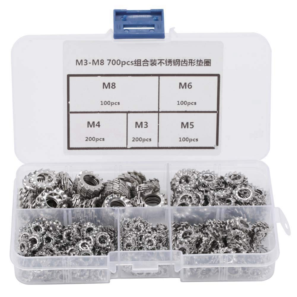 700pcs M3-M8 Combination Box Stainless Steel 304 External Toothed Washer Kit Combined Boxed Outer Toothed Washer
