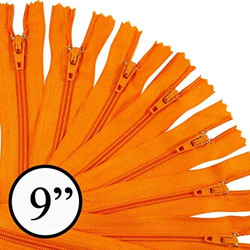 KGS 9 inch Nylon Zipper Zipper | 12 Zipper/Pack (Orange)