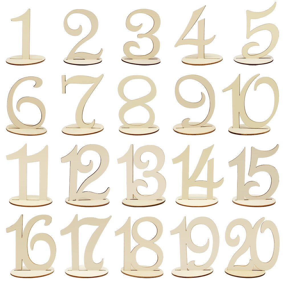 Meetory 1 to 20 Wooden Table Numbers with Holder Base, Wedding Birthday Party Table Decoration