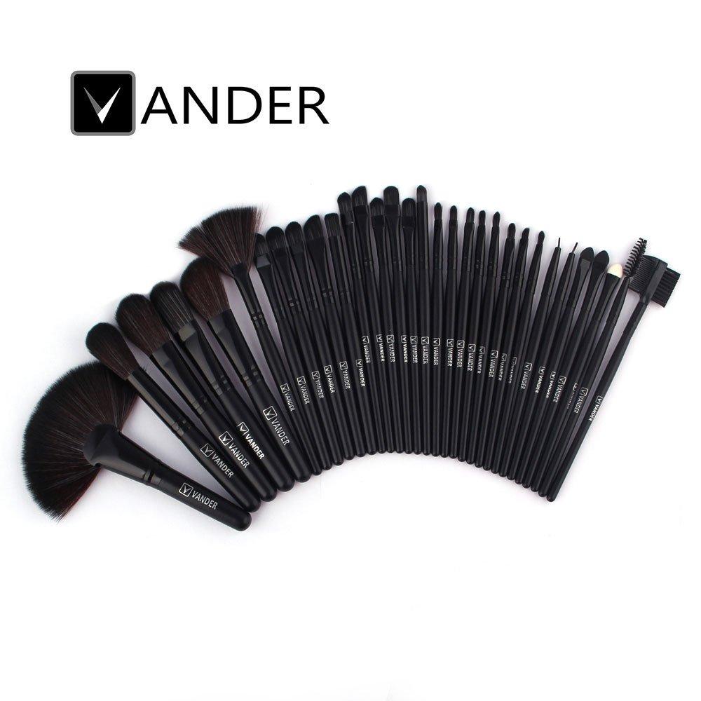 eyebrow brushes kit. amazon.com: vander synthetic kabuki foundation blending makeup brushes kit with bag - black: beauty eyebrow