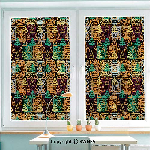 Window Film No Glue Glass Sticker Folk Aztec Motif with Ornate Triangles Rounds and Inner Spots Dots Figures Static Cling Privacy Decor for Kitchen Bathroom 22.8x35.4inches,Multi