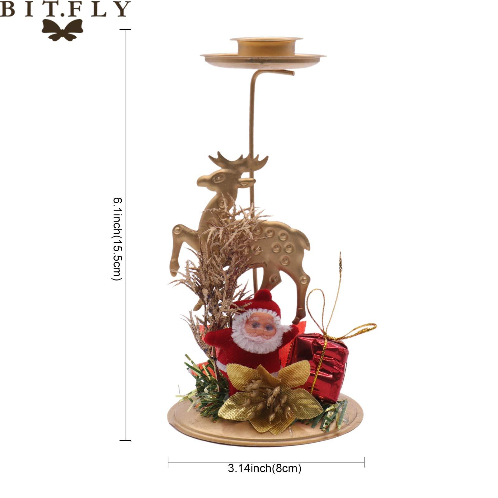Santa Candle 8x15.5cm Creative Hollow Stand Santa,Christmas Tree,Snowflake,Star Candlestick Christmas Iron Candle Holdertable Decoration
