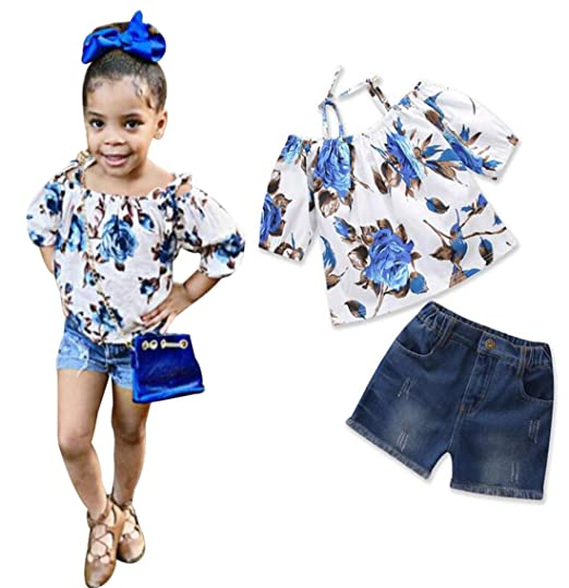b99c7950be3 2Pcs Toddler Girls Off Shoulder Floral T-Shirt+Ripped Jeans Short Outfit  Clothes Sets