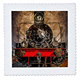 3dRose Alexis Photography - Transport Railroad - Frontal view of an ancient steam locomotive. Stylized photo - 16x16 inch quilt square (qs_270621_6)