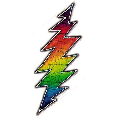 Dye the Sky Tina Carpenter Batik Grateful Dead Rainbow Lightning Bolt Art Decal Mini Window Sticker (1.25 x 3 inches): Automotive