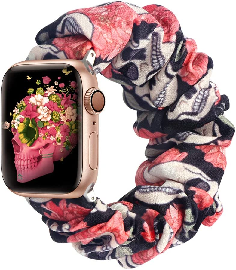 ALNBO Compatible with Apple Watch Band 38mm 40mm 42mm 44mm Soft Floral Fabric Elastic Scrunchies iWatch Bands for Apple Watch Series 6,SE,5,4,3,2,1 42mm/44mm Skulls S