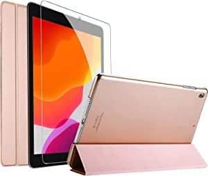 """ProCase iPad 10.2 Case 2020 8th Generation / 2019 7th Generation Case with Tempered Glass Screen Protector, Slim Stand Hard Shell Protective Smart Cover for 10.2"""" iPad 8 / iPad 7 -Rosegold"""