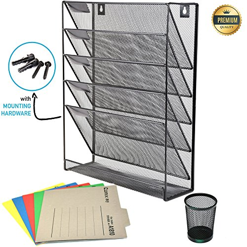 Mesh Wall File Holder Organizer – 5 Tier Hanging Wall Mounted Rack – for Office/Home – Mail Organizer, Sorter Tray for Letters, Folders, Notebooks, Laptop, Binders. – With Plugs, Penholder & Folders by Qubeeco