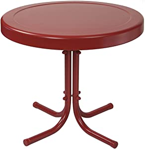 Crosley Furniture Gracie Retro 20-inch Metal Outdoor Side Table - Coral Red