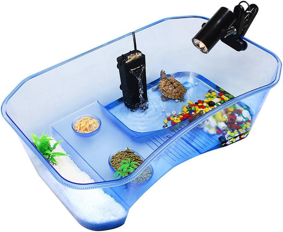 Zantec Caja para mantener la tortuga, Reptile Turtle Tortoise Vivarium Box Tanque de acuario con rampa para tomar el sol