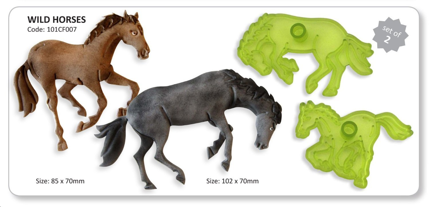 JEM Set of 2 WILD HORSES Animal Icing Cutters Cut Out Sugarcraft Cake Decoration