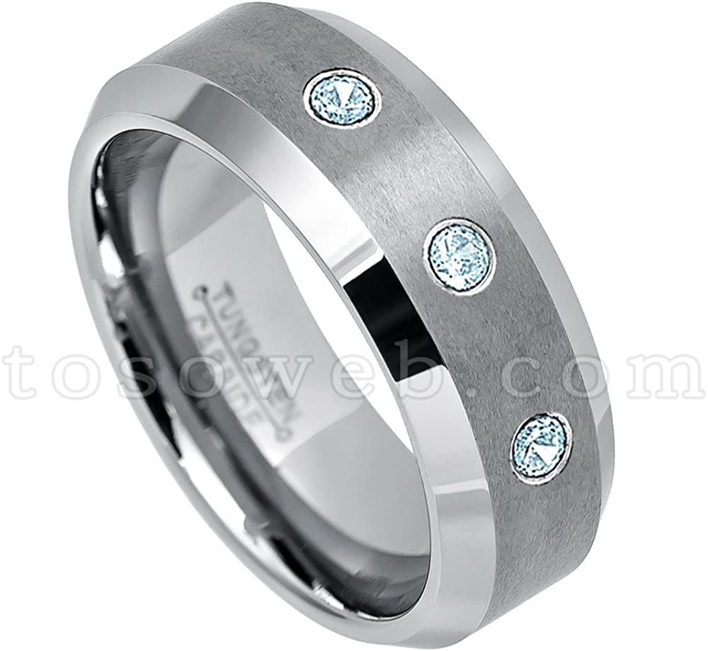 November Birthstone Ring 0.21ctw Topaz /& Diamond 3-Stone Anniversary Band Comfort Fit Tungsten Carbide Ring Tungsten Wedding Ring 8mm Brushed Finish Blue Tungsten Ring