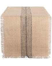 DII 14x108 Jute/Burlap Table Runner, Stripe Mineral Grey - Perfect for Fall, Thanksgiving, Catering Events, Farmhouse Décor, Dinner Parties, Weddings or Everyday Use