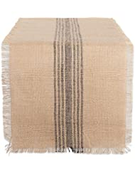 DII CAMZ38416 Mineral Middle Stripe Burlap Table Runner, Center Gray