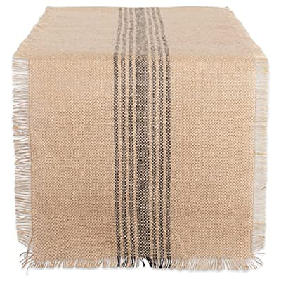 "DII CAMZ38416 Mineral Middle Burlap Table Runner, 14 x 108, Center Stripe Gray - FOR YOUR TABLE – This table runner measures 14x108"" in size, appropriate for a table that can seat 8-10 people. EASY CARE - 100% jute/burlap, shake briskly and wipe with damp sponge or cloth. ADDS A FINISHING TOUCH –  Adorn our neutral table runner with lace, ribbon or fabric paint to suit your occasion or keep it simple shabby-chic. - table-runners, kitchen-dining-room-table-linens, kitchen-dining-room - 618gXJgZncL. SS400  -"