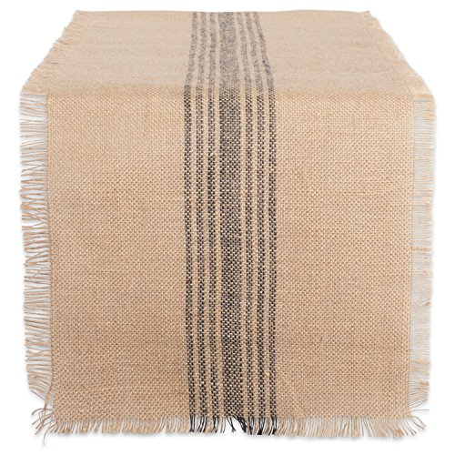 DII CAMZ38416 Mineral Middle Burlap Table Runner, 14x108, Center Stripe Gray (Runner Tabel)