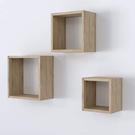 Vicco Wandregal 3er Set 3 Größen Deko Würfelregal Holz Hängeregal Cube Büroregal Cd Buch Sonoma Eiche Sonoma Eiche