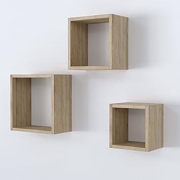 Vicco Wandregal 3er Set   3 Größen Deko Würfelregal Holz Hängeregal Cube  Büroregal CD Buch Sonoma