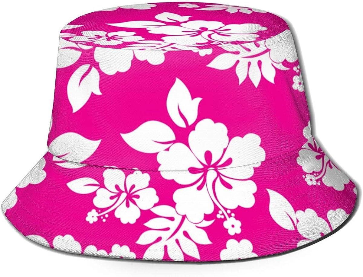 SDFRG Verano Hawaii Isla exótica Tema Floral Hojas Rosa Moda Sombrero de Pescador Gorra de Pescador Visor Exterior Sombrero para el Sol Negro