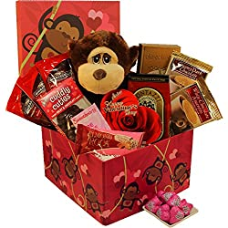 Art of Appreciation Gift Baskets I'm Wild About You Valentine's Day Gift Box with Plush Monkey