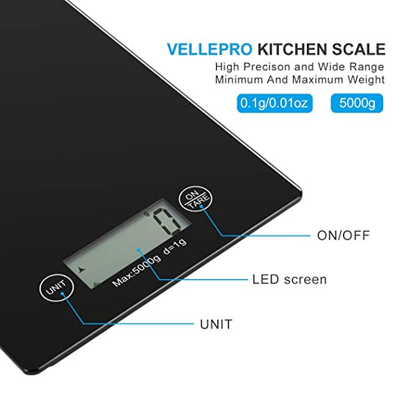 Báscula de cocina digital Báscula profesional Electro - Báscula electrónica, Velleman epro 5000 g x 1 g pesacartas con 4 unidades de cuna, función de tara, ...