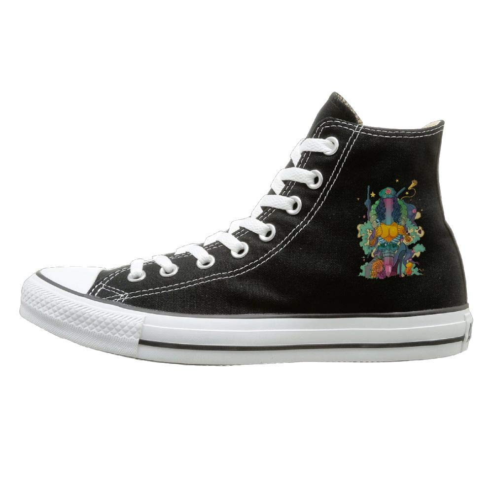 Sakanpo Fashion Painting Canvas Shoes High Top Design Black Sneakers Unisex Style