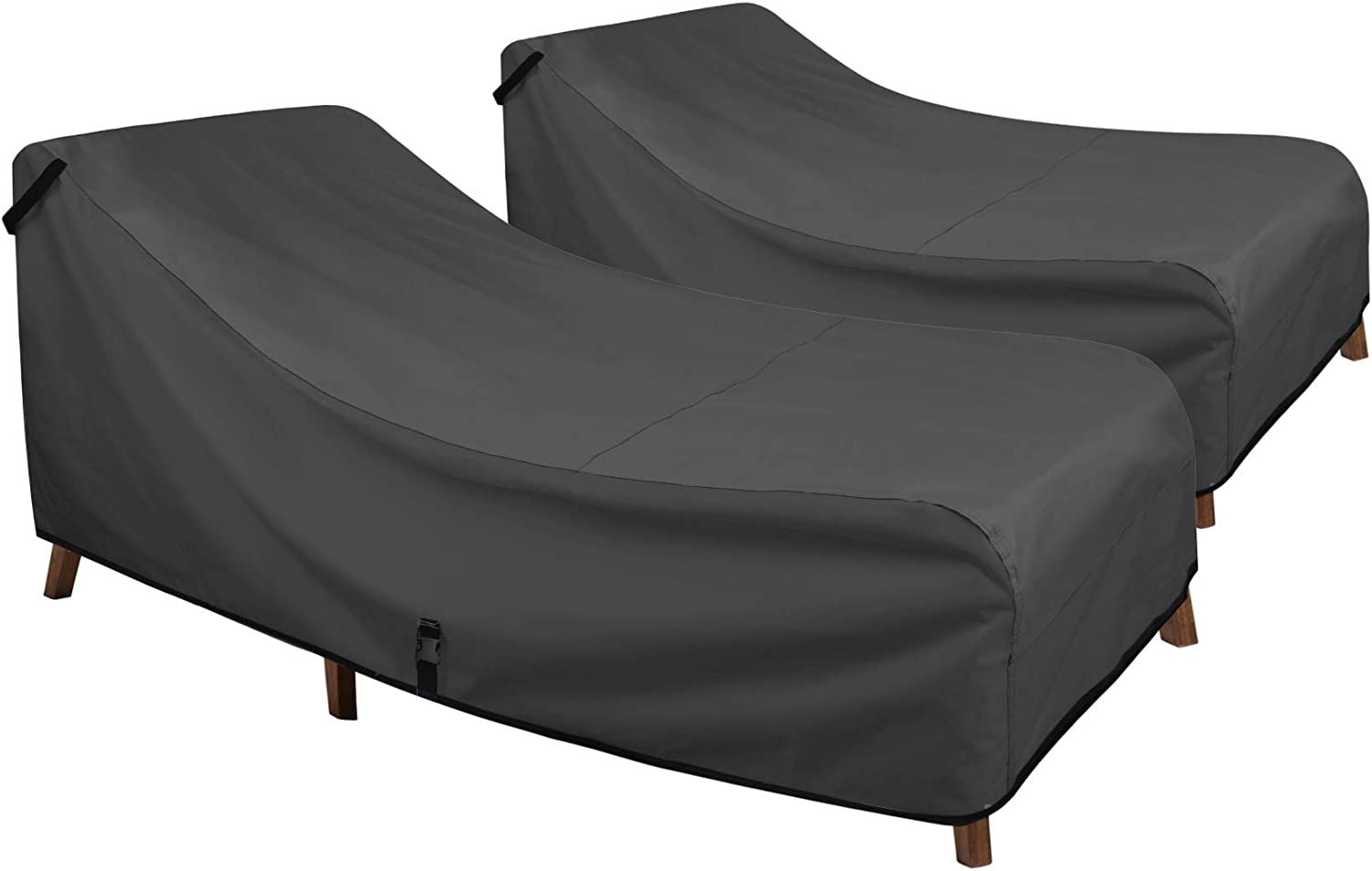 Porch Shield Patio Chaise Lounge Chair Cover - Waterproof Outdoor Pool Chair Cover 2 Pack - 68W x 30D x 30H inch, Black