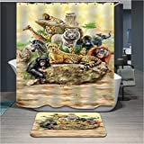 polyerster Shower curtain, Animal world, size Width X Height / 72 x 80 inches / W * H 180 by 200 cm Modern design, Waterproof, best and suitable for wife