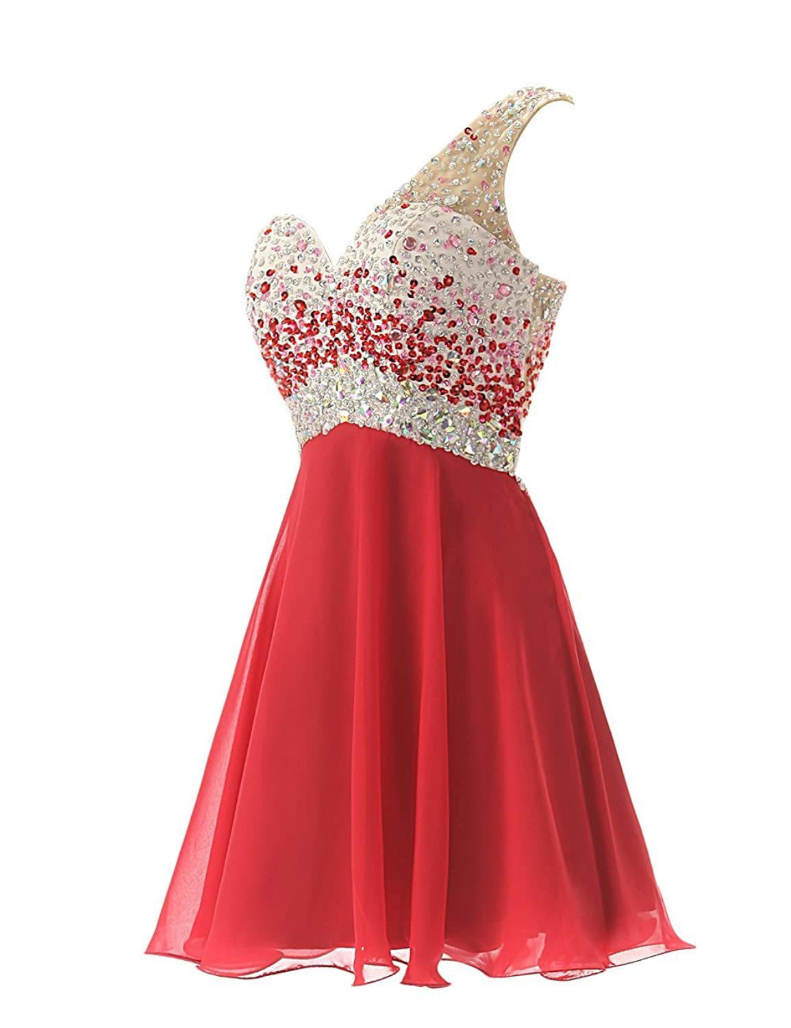 Uther One Shoulder Crystal Beads Chiffon Short Prom Gown Evening ...