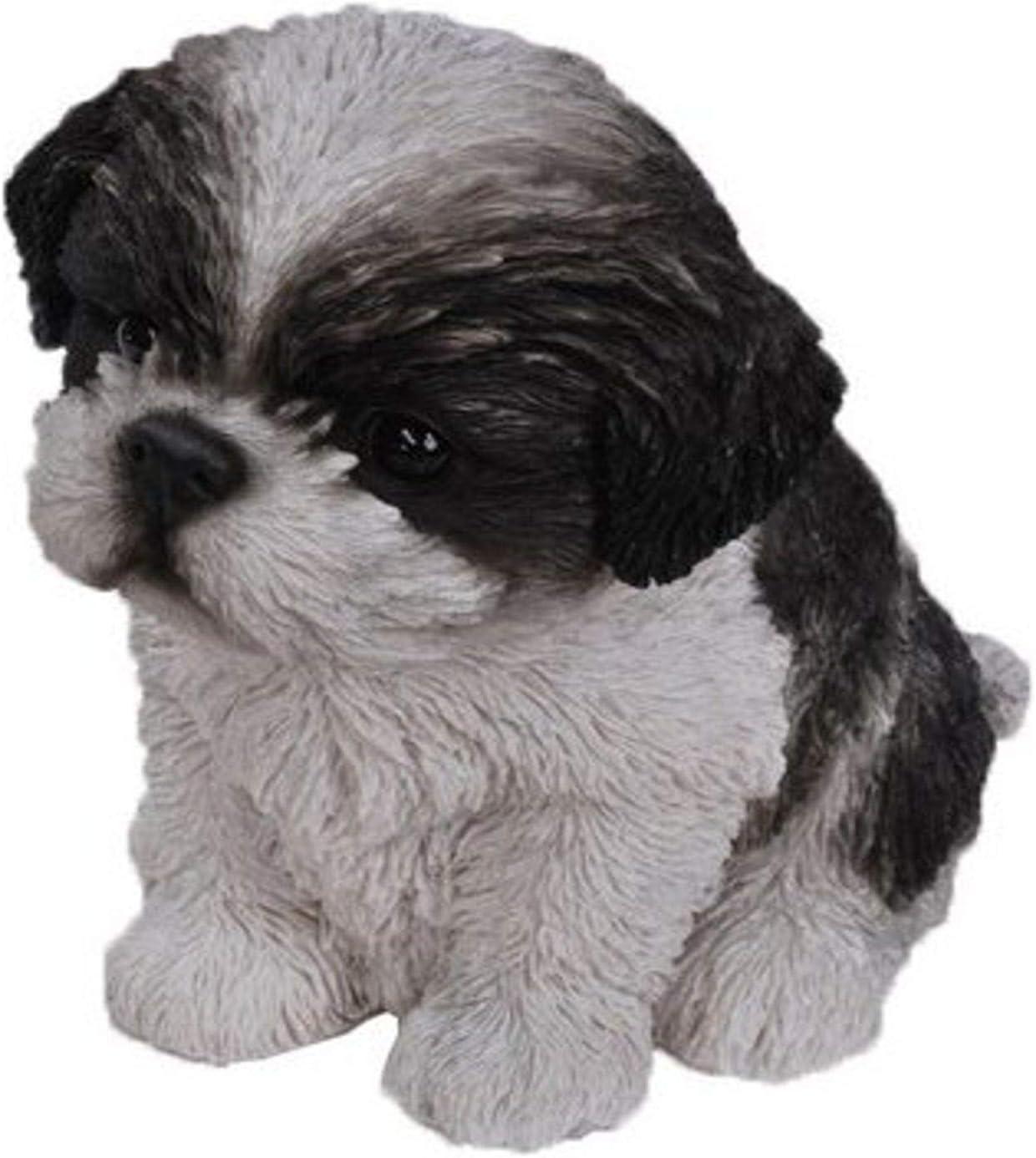 Shih Tzu Puppy Statue | Animal Statue for Home Decor, Garden Decor, Outdoor Decoration | Brown - 3.3'' H x 4.6'' W x 7'' D