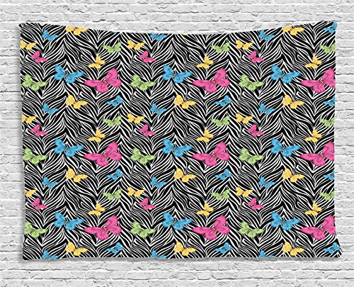 Ambesonne Zebra Print Decor Collection, Colorful Butterflies