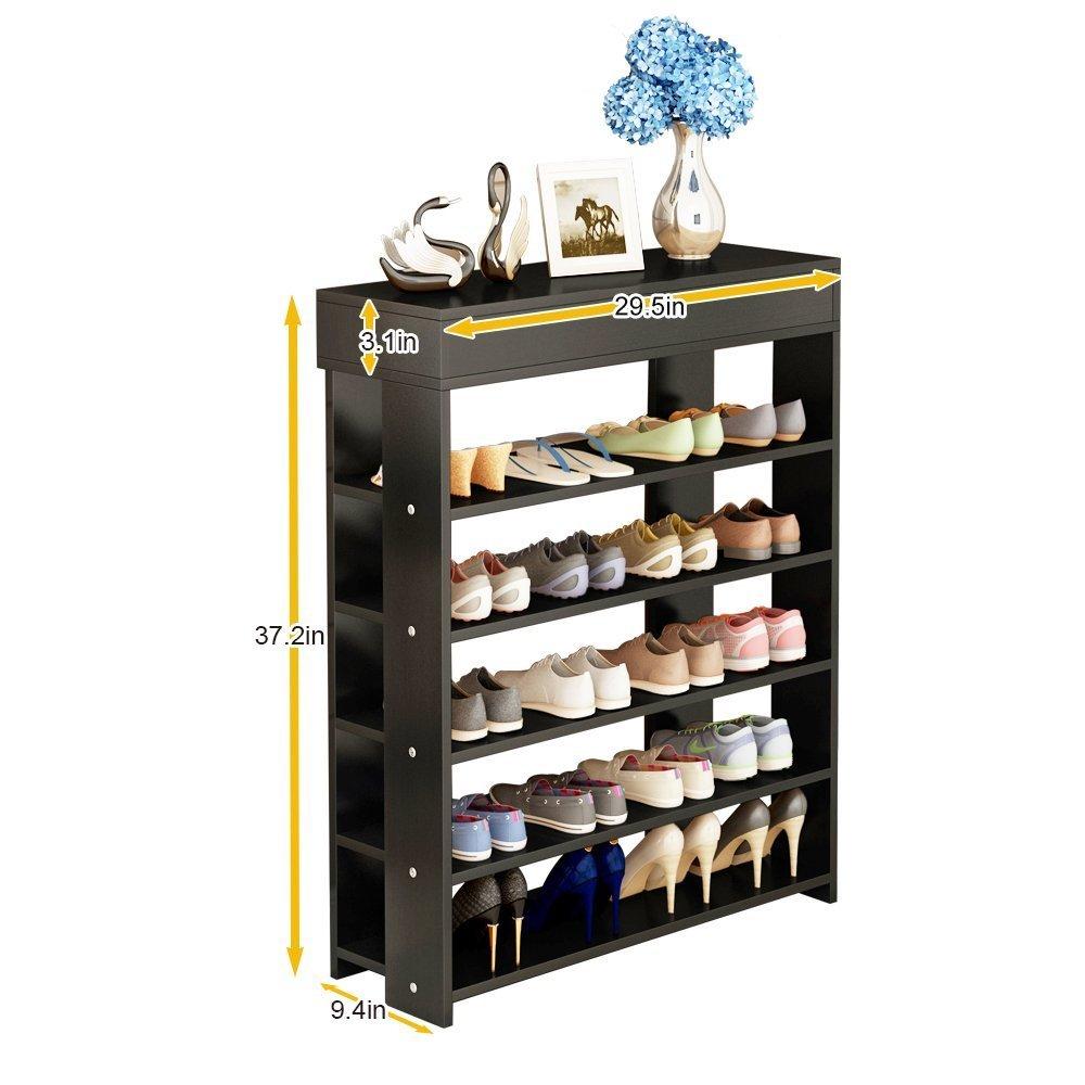soges 29.5'' Shoe Rack 5 Tier Free Standing Wooden Shoe Storage Shelf Shoe Organizer, Black L24-H by soges (Image #4)