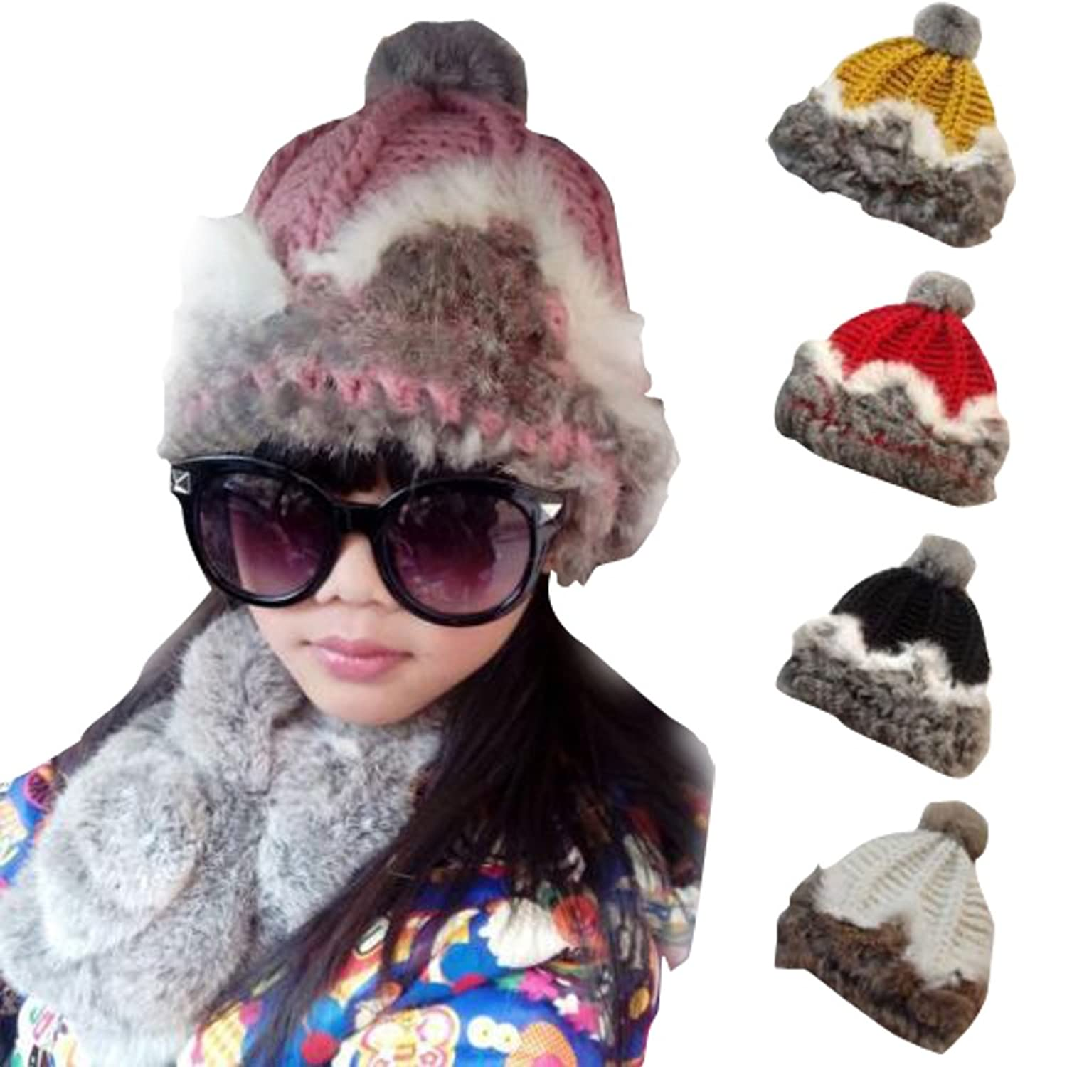 PATTONJIOE Girl's Charming Soft Farm Real Rabbit Fur Knitted Winter Hat