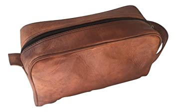 Handmade Goat Genuine Leather Toiletry Bag Dopp Kit Shaving and Grooming Kit  for Travel ~ Gift 4724371c6b911