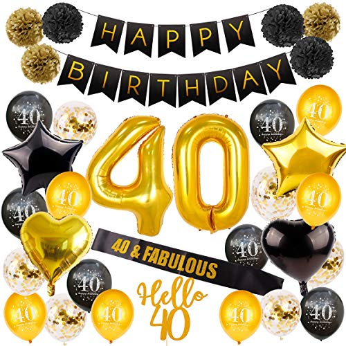 40th Birthday Decorations Party Supplies, Birthday Balloon Gold