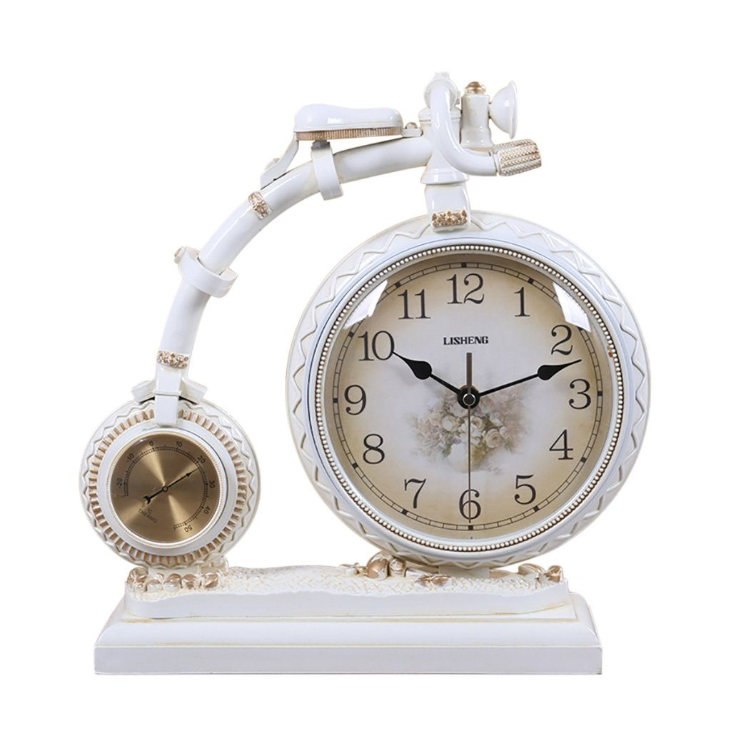LANNA SHOP- Retro creative Mantel / Mantle Clock With thermometer Rhythm Resin bicycle desk clocks Decoration by Clock