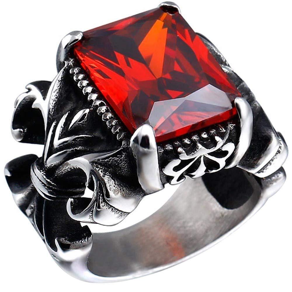 MXonbTaT Grand Homme en Acier Inoxydable Cristal Dragon Griffe Croix de Chevalier Fleur Gothique Vintage Bague Argent Rouge