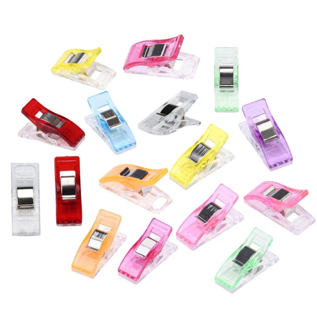 STRIR 50pcs Clips de costura - Craft Clips Milagro Multicolor Abrazadera Plástico Perfecto para costura/ganchillo(incluye azul, claro, verde, rojo oscuro, naranja, rosa, violeta, rojo, amarillo)
