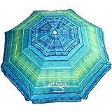 Tommy Bahama 2016 Sand Anchor 7 feet Beach Umbrella with Tilt and Telescoping Pole (Green/Blue Stripe)