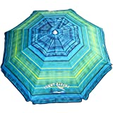 Tommy Bahama Sand Anchor 7 feet Beach Umbrella with Tilt and Telescoping Pole (Green/Blue Stripe)