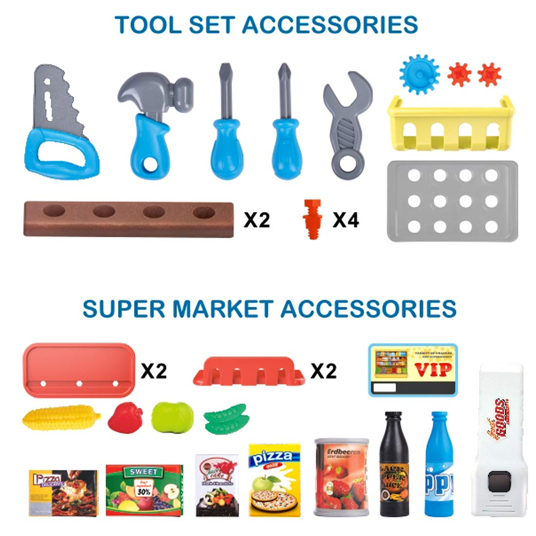 Accessories deAO Portable 3-in-1 Supermarket and Tool Station Workbench Play Set in Carry Case with 30 Pretend Role Playing Game for Kids