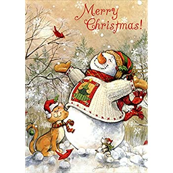 snowman and cat winter bliss box of 18 christmas cards
